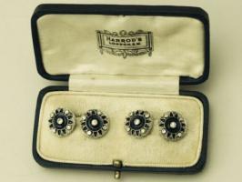 0,78 ct Diamanten, Emaille und 18-karätigem Gold Manschettenknöpfe - antique victorian