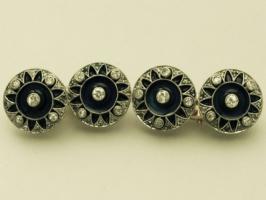 Foto 2 0,78 ct Diamanten, Emaille und 18-karätigem Gold Manschettenknöpfe - antique victorian