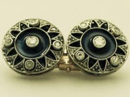 Foto 3 0,78 ct Diamanten, Emaille und 18-karätigem Gold Manschettenknöpfe - antique victorian
