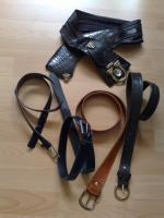 1 Designergürtel und 4 gut erhaltene Leder Gürtel Gr. 38