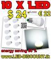 10 x LED-Birne E27 3W nur € 22 – 90 % Energieeinsparung - versandkostenfrei