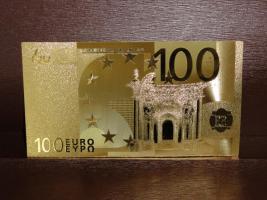 100 Euro Gold Banknote Vergoldet Sammlerstück