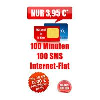 100 min + 100 SMS + Internet-Flatrate nur 6,95€/Monat nur Karte ohne Handy