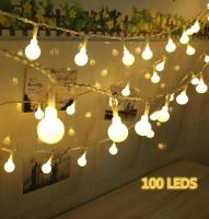 10M 100er LED Lichterkette, Kugel Lichterkette warmweiß Innen/Aussen Sternen Lichterkette DC 31V EU-stecker Netzteil