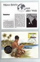 1987 MÜNZBRIEF MALEDIVEN MÜNZE-PWZ UND DOKUBLATT