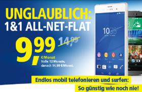 1 & 1  All-Net-Flat für nur 9,99 €/Monat endlos telefonieren SMS verschicken im Internet surfen