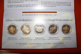 2 EUR Gedenkmünzen Meckl.bg. - Vorpommern bfr 5 X 2 EUR -2007 von A bis J - 25 EUR + Porto