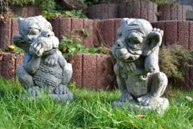 2 Gargoylen - Mauerhocker - Torwächter - Gartenfiguren Steingussfiguren - Drachentraeume - Steinfiguren Lessmann