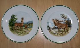 2 Porzellan-Wandteller mit Jagdmotiven, NEU