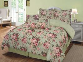 2 Teilige  Bettwäsche SET Garnituren mit Reißverschluss (Rosen Rose) 135x200 & 80x80 cm