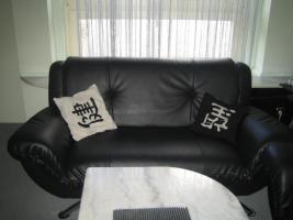 Foto 2 2 Zweisitzer, schwarz, Lederimitat