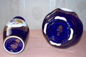 Foto 4 2 echte Cobalt Vasen mit Goldrand!