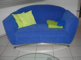 2-teilige Couchgarnitur in blau