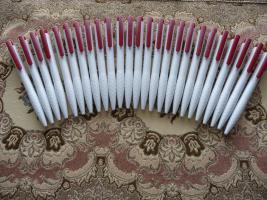 25 Neue Kugelschreiber Weiss-Rot Ohne Werbung