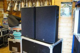 2x AD Systems Flex15 Lautsprecher - Topteil im Case