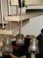 3-Armige H�ngelampe aus Glas Sputnik aus den 60er Jahre