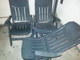 Foto 2 3 stabile Gartenstühle von Sieger + 1 blauer Stuhl+ wer mag 3 Auflagen