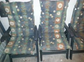 Foto 4 3 stabile Gartenstühle von Sieger + 1 blauer Stuhl+ wer mag 3 Auflagen