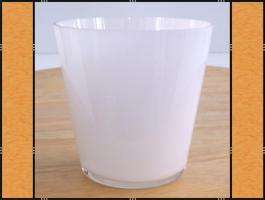 3 x Pflanzgefäß, Windlicht, Glasgefäß – Weißglas, konisch (8,5 x 8)