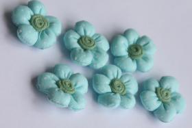 3D Stoffblume, Hellblau, 6 Stück, Baumwolle