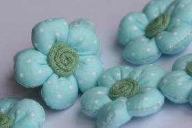 Foto 2 3D Stoffblume, Hellblau, 6 Stück, Baumwolle