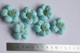 Foto 3 3D Stoffblume, Hellblau, 6 Stück, Baumwolle