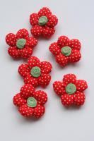 3D Stoffblume, Rot, 6 Stück, Baumwolle