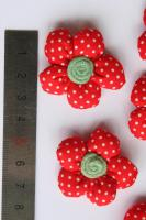 Foto 2 3D Stoffblume, Rot, 6 Stück, Baumwolle