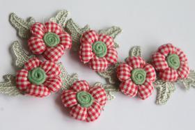 3D Stoffblume, Wei� Rot kariert, 6 St�ck, Baumwolle