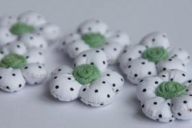 3D Stoffblume, Weiß, 6 Stück, Baumwolle