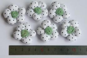 Foto 2 3D Stoffblume, Weiß, 6 Stück, Baumwolle