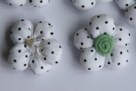 Foto 3 3D Stoffblume, Weiß, 6 Stück, Baumwolle