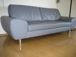 3Sitzer Couch W.Schillig Longlife Leder hellblau