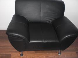 Foto 3 3- Sitzer Ledersofa und Sessel