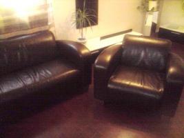 Foto 2 3er Ledercouch mit 2 Sessel