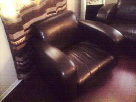 Foto 3 3er Ledercouch mit 2 Sessel