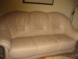 3er Sofa Garnitur mit Sessel und Hocker beige, Top-Zustand