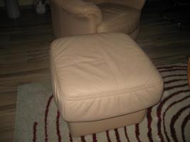 Foto 3 3er Sofa Garnitur mit Sessel und Hocker beige, Top-Zustand