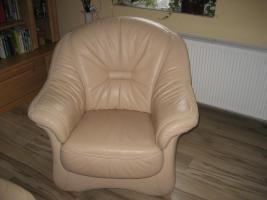 Foto 4 3er Sofa Garnitur mit Sessel und Hocker beige, Top-Zustand