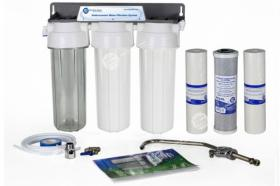 3stufiges Untertisch Wasserfilterystem Wasserhahn Wasseranschluß Patronen
