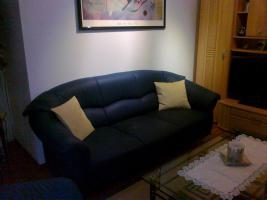 3teilige Couchgarnitur in Textilleder