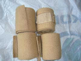 4 er Set Fleece Bandagen in Beige