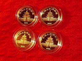 Foto 2 4 X GOLD CHINA PANDA 1/10 OZ 999 AU