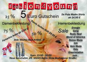 5 Euro Gutschein ! Outlet Store Berlin fashion4young Energie