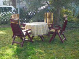 5 Teilige Gartengarnitur,4 Stühle+Tisch weinrot (für Stühle gibts Sitzauflagen siehe Bild