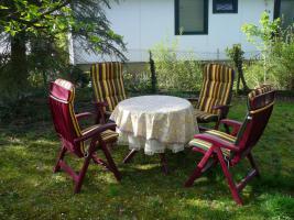 Foto 2 5 Teilige Gartengarnitur,4 Stühle+Tisch weinrot (für Stühle gibts Sitzauflagen siehe Bild