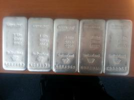 5 x 1 kg METALOR 999 Feinsilber Bars
