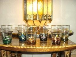 6 Wunderschöne mundgeblasene Gläser aus echter Handarbeit.