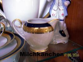 Foto 6 6er komplett Ess-u. Kaffeeservice Hutschenreuther Bavaria Germany Kobald, Gold, Platin-Rand