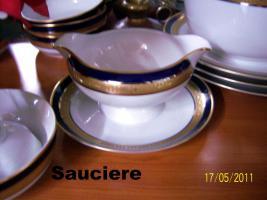Foto 7 6er komplett Ess-u. Kaffeeservice Hutschenreuther Bavaria Germany Kobald, Gold, Platin-Rand